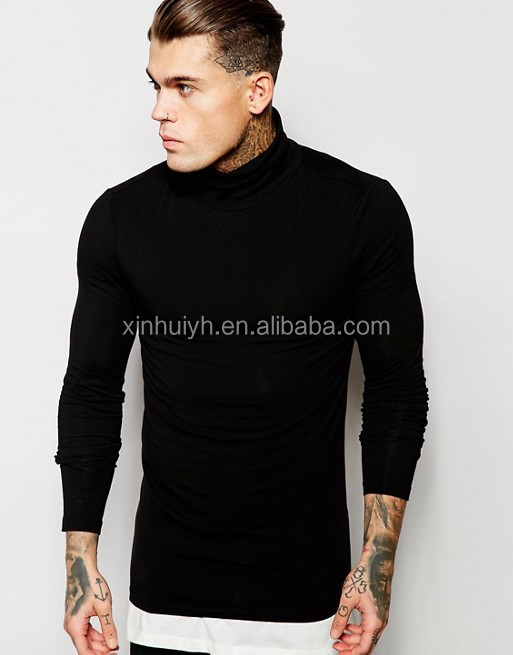 New Design Autumn Muscle Fit Men Long Sleeve T-Shirt With Roll Neck Blank Customize