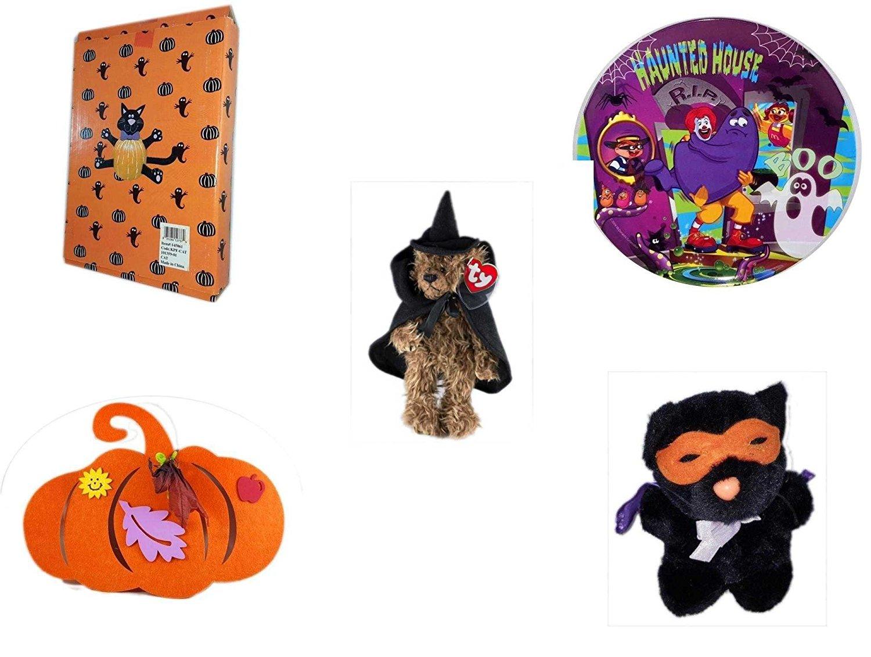 "Halloween Fun Gift Bundle [5 piece] - Halloween Cat Pumpkin Push In 5 Piece Head Arms Legs - McDonald's Haunted House, RIP, Boo Halloween Plate - Ty Attic Treasures ""Esmerelda"" Witch Bear Plush - Ha"