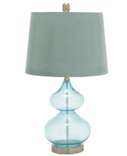 wholesale in Colorado blue groud shape hotel decoration table lamp glass lamp stand and blue barrel fabric lamp shade