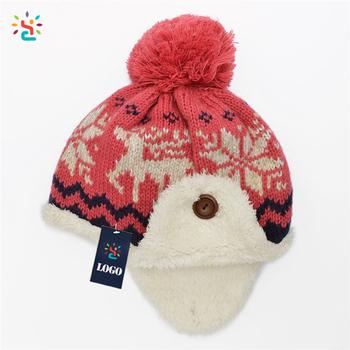 Winter Knit hat children beanie hat Warm Fleece Lined Pom pom Beanie Hat  with Ear Flaps 316438899897