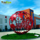 Modern Red Stainless Steel Hollow Sphere Sculpture For Garden