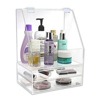 Acrylic Makeup Cosmetic Organizer Storage Case Holder for Makeup, Perfumes, Skincare and Jewelry Accessory with 2 drawers