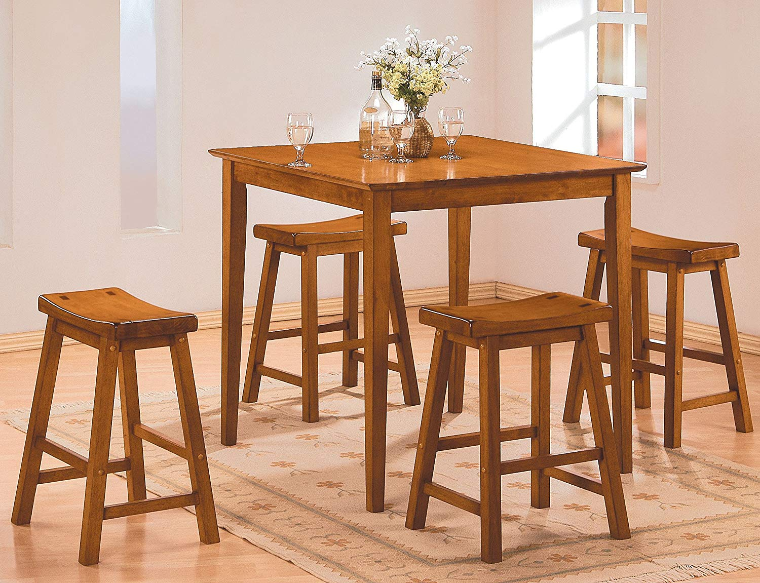 Benzara Wooden 5-Piece Counter Height Dining Set of Table & Stool, Oak Brown