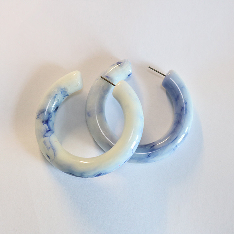 5 CM Diameter Blue Color Acetate Acrylic C Shape Chunky Hoop Earrings Marble Blue C Hoop Earrings