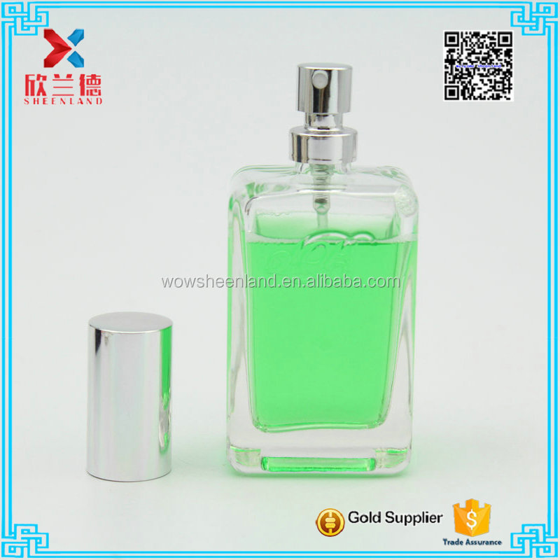 50ml wholesale quadrate brand name perfume glass bottle with silver sprayer