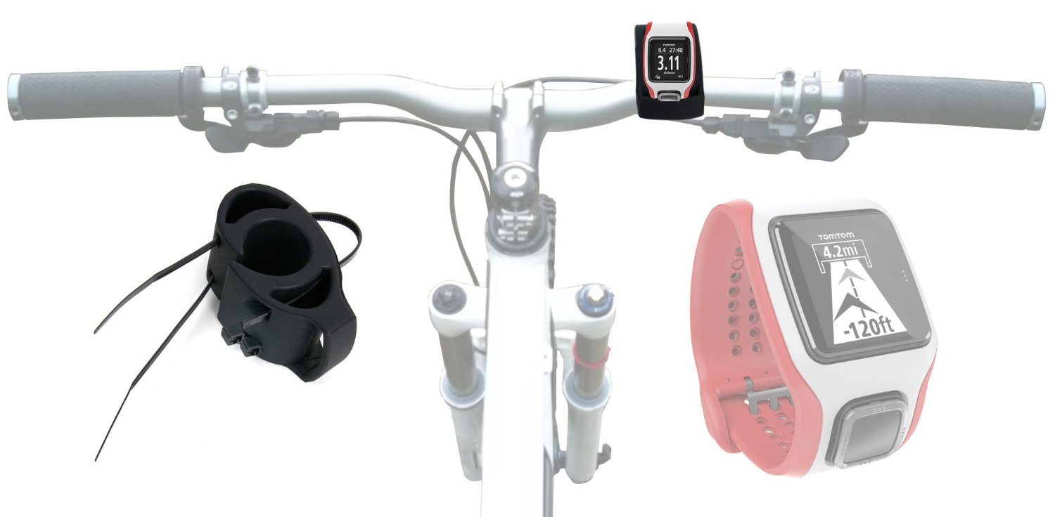 DURAGADGET Black Bicycle Handlebar Mount Kit for TomTom Multi-Sport Cardio Watch - Secured with Strong Cable Ties