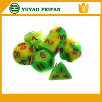 Assorted Different Two Colors 10 Sided Marble Polyhedral Dice