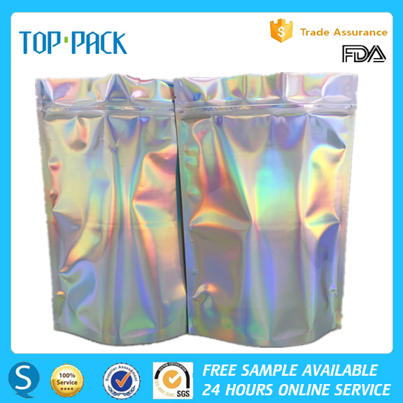 Custom Printed Laminated Holographic Plastic Foil Stand Up Zipper Ziplock Packaging Bags