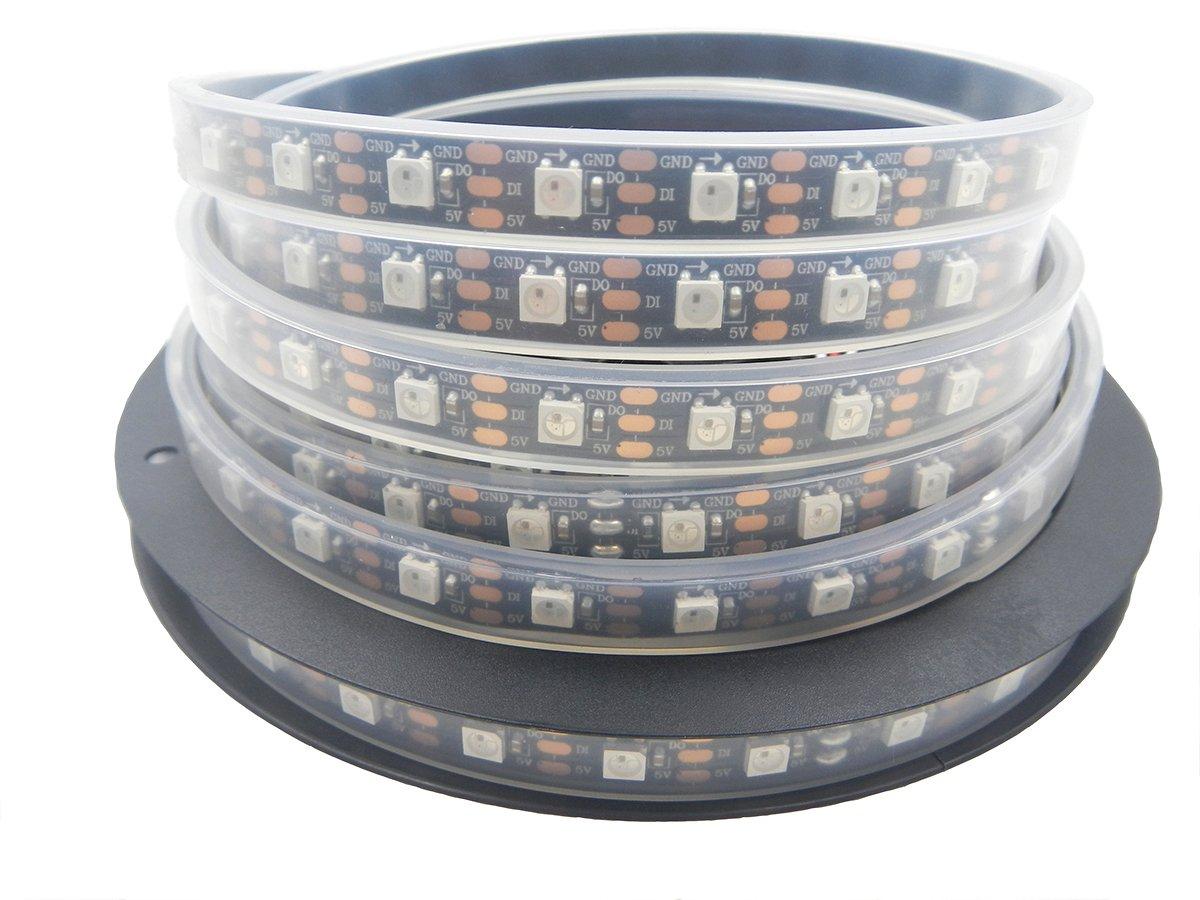 Visdoll 16.4Ft WS2812B 300Leds RGB Pixel Strip Lights, 60 Pixel/m WS2811 Individually Addressable Dream Color Ribbon Lighting, Waterproof 5050 SMD Led Tape light 5V (Black PCB)