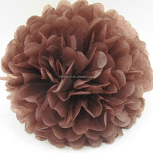 Coffee Brown Tissue Paper Pom Poms