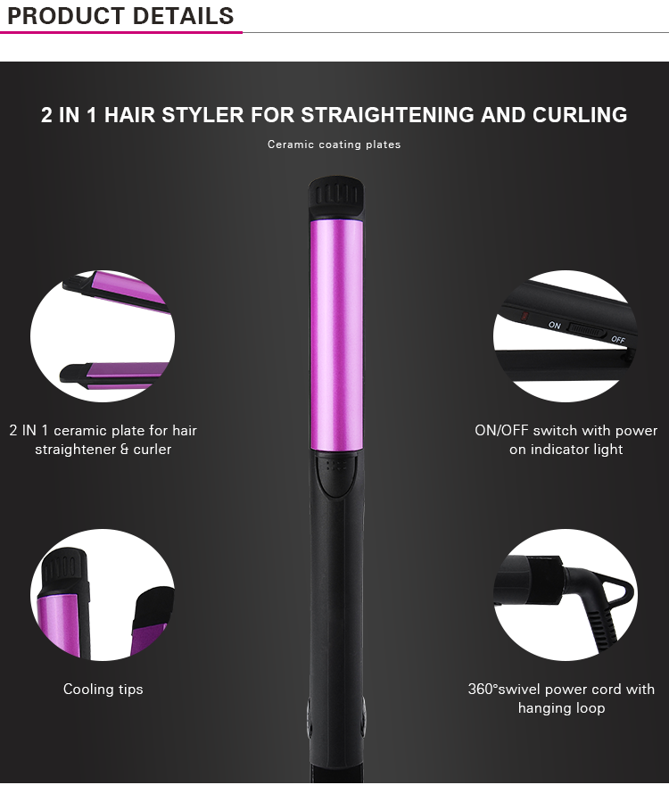PRITECH Custom 2 IN 1 Ceramic Plates Hair Straightener Curler Made In China