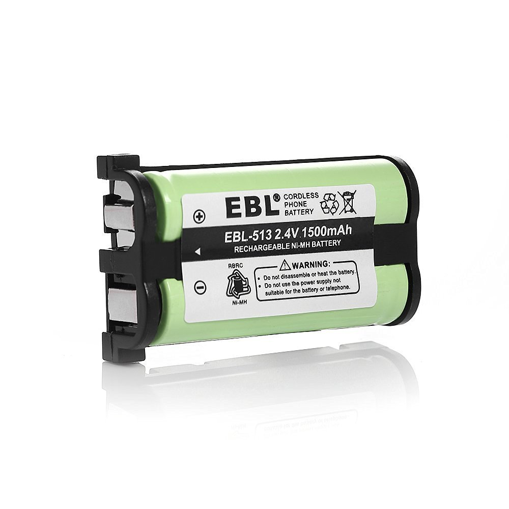 EBL 2.4V 1500mAh Green Replacement Cordless Phone Battery for Panasonic HHR-P513 HHR-P513A KX-TG2214 KX-TG2224 (1 Pack)