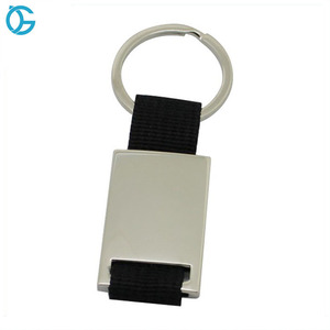 Promotion Customized can Laser or print Logo Metal Keyring with ribbon