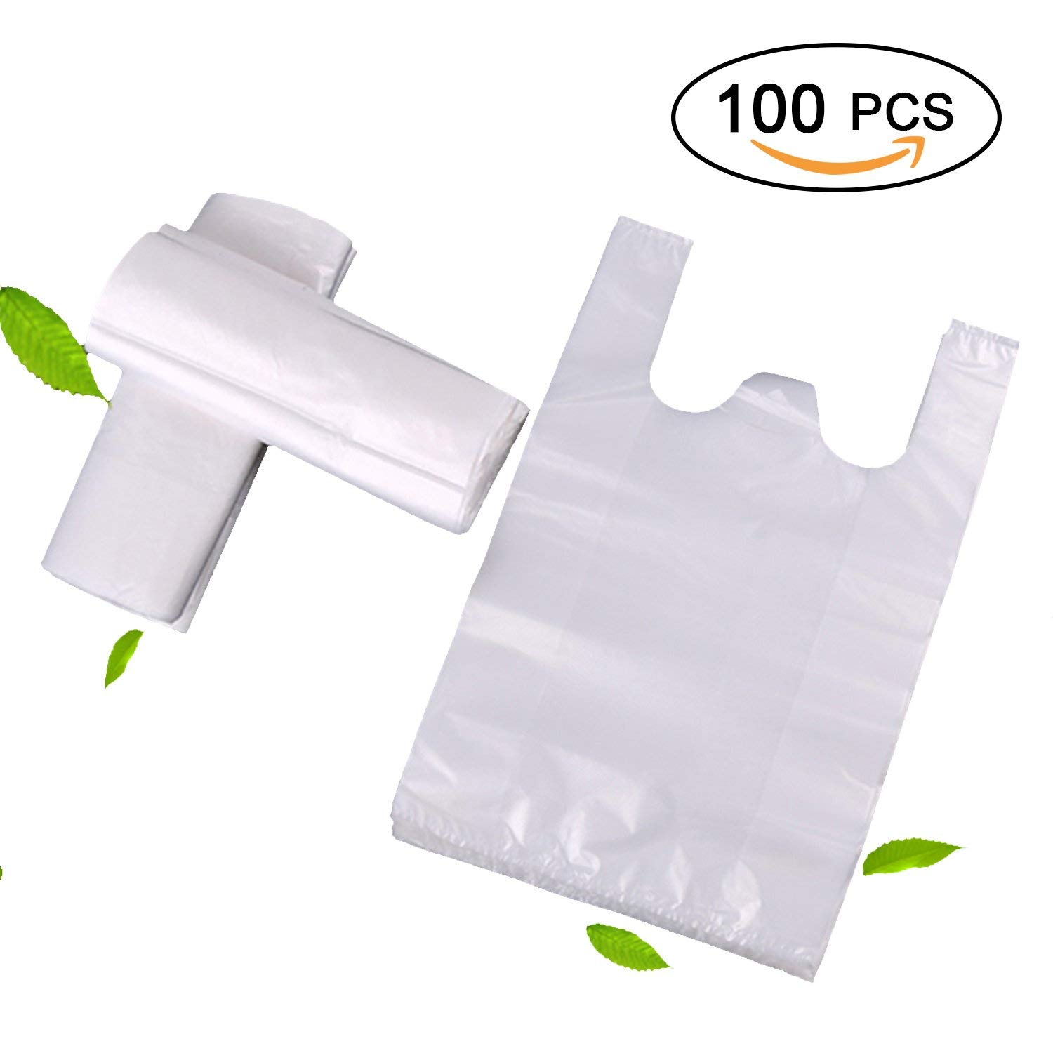 """Plastic Shopping Bags/Garbage bags, Topgalaxy.Z Reusable Grocery Bags, Retail plastic bag - Measures 14.17"""" X 9.46"""" X 25.6"""", 1.5 Mil - 100 Count plastic bags/T Shirt Bags/Trash bags"""