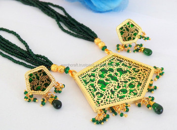 Mughal Era Style Thewa Pendant Jewellery - Wholesale Gold Plated Imitation  Jewellery - Indian Ethnic Thewa Art Necklace Set - Buy Imitation Handmade