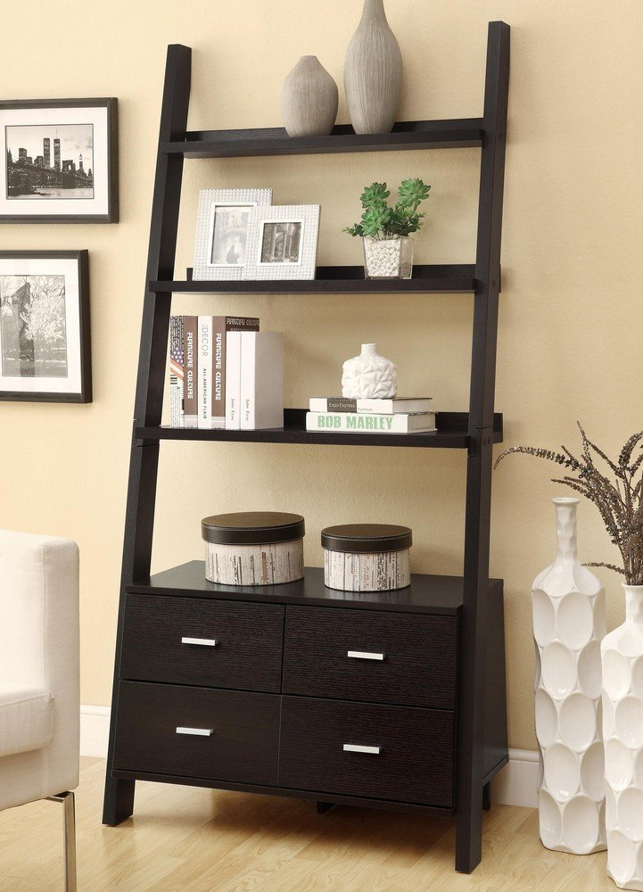High Quality Leaning Ladder Style Espresso Finish Wood Modern Styling Slim Line Bookcase  Shelf Unit With Drawers