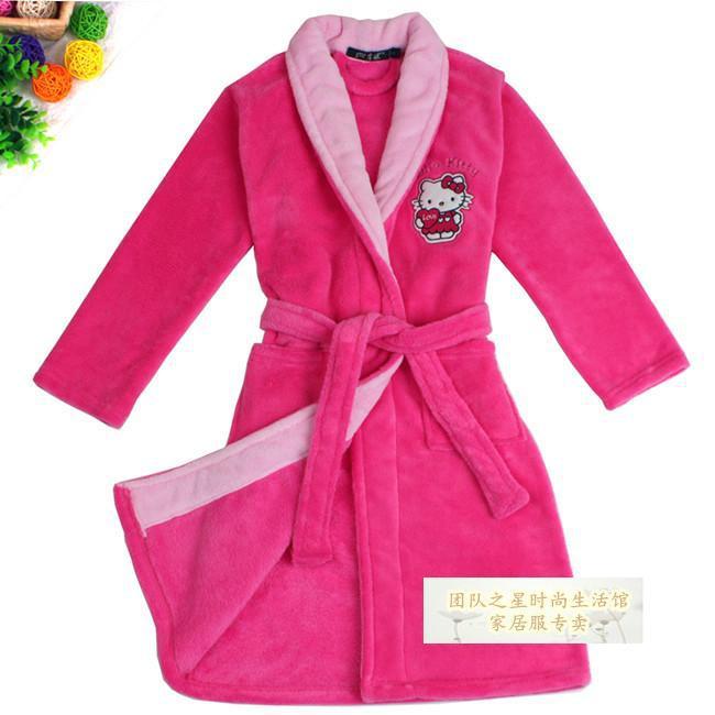 Get Quotations · 2014 Pink Cartoon Kitty Pattern Flannel Kids Bathrobe Soft  Sleepwear   Robes Girls  Bathrobes Pajamas a279d8b46