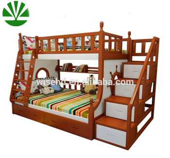 kids wood bunk bed with trundle and drawer stairs buy bunk bed