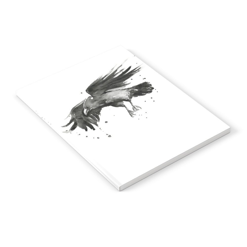"Society6 Raven Watercolor Bird Painting Black Crow Notebook Set of 3 6"" x 8"" Lined"