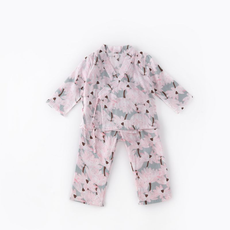 DM 654 Wholesale print Loungewear cotton Robe two piece sleepwear set summer kids pajamas