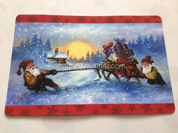 OEM custom Plastic pp tablemat Christmas color printed table placemat