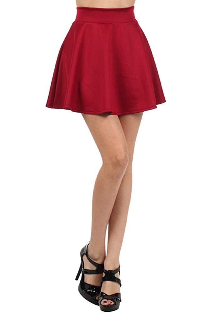 64ae3c3c11 Get Quotations · High Waist Short Jersey Plain Flared Pleated A-line Skater  Mini Skirt