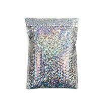 Water Proof Express Packaging Custom Silver Metallic Aluminum Foil Film Air Bubble Lined Glitter Padded Envelope