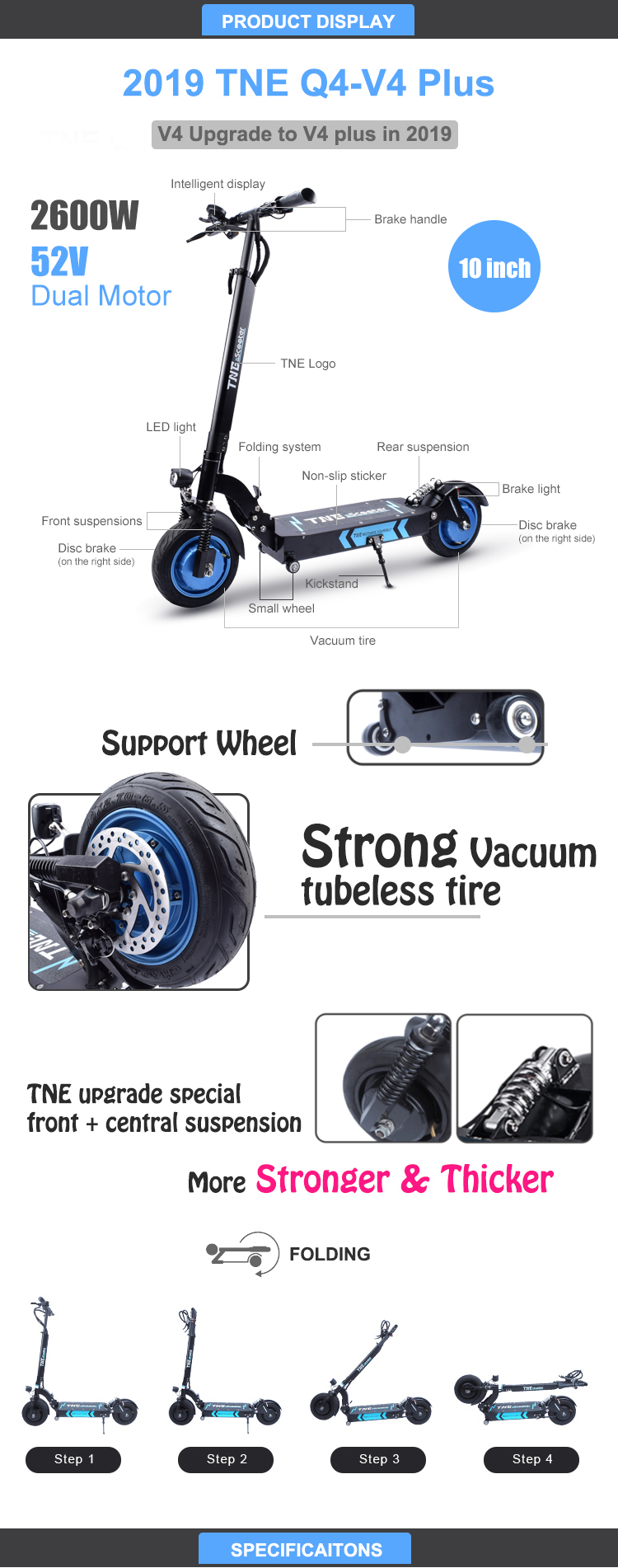 TNE V4 80km 2600W 52v 2000w electric scooter fat wheel