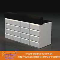 Brown and white modern reception counter design for offices and hotels