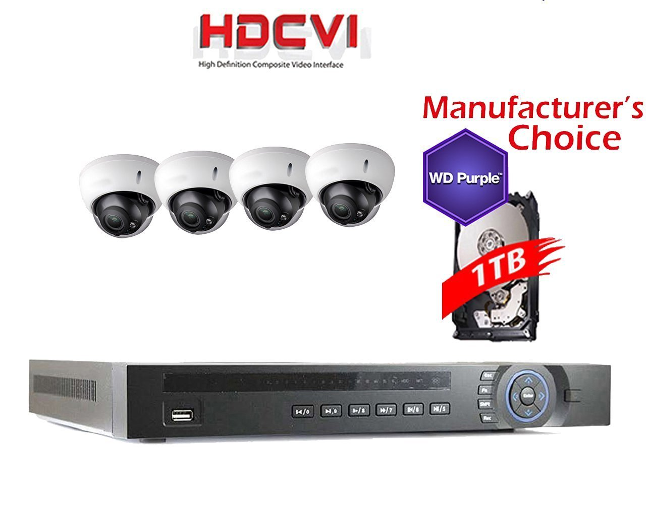 iCare HDCVI 1080P Package: 4CH HDCVI with 1TB WD Purple HDD Pre-installed + 4 x 2MP Outdoor IR Dome Camera, 2 years warranty, Local US Support