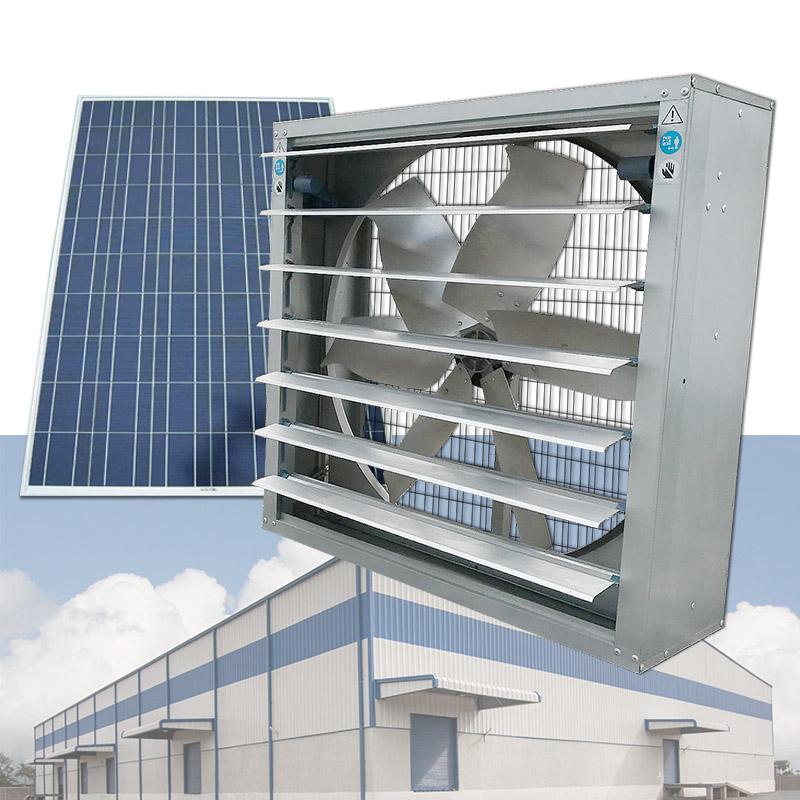 250W 32 inch Solar industrial wall mounted gfrp fan solar powered poultry farm ventilation fans