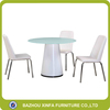 Simplicity Mushroom Shape Mdf Base Dining Table With Leather Chairs