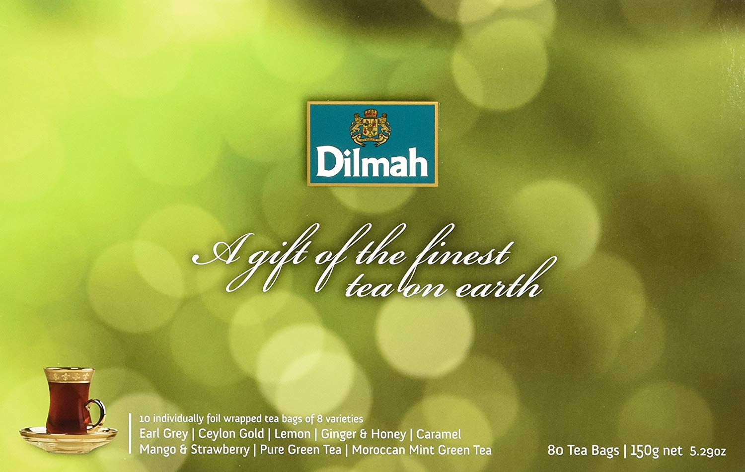 Dilmah, Gift of Tea, Illuminations Green Pack, 80 Ct, 8 Varieties of Individually Foil Wrapped Tea Bags in a Gift Box, (Pack of 1)
