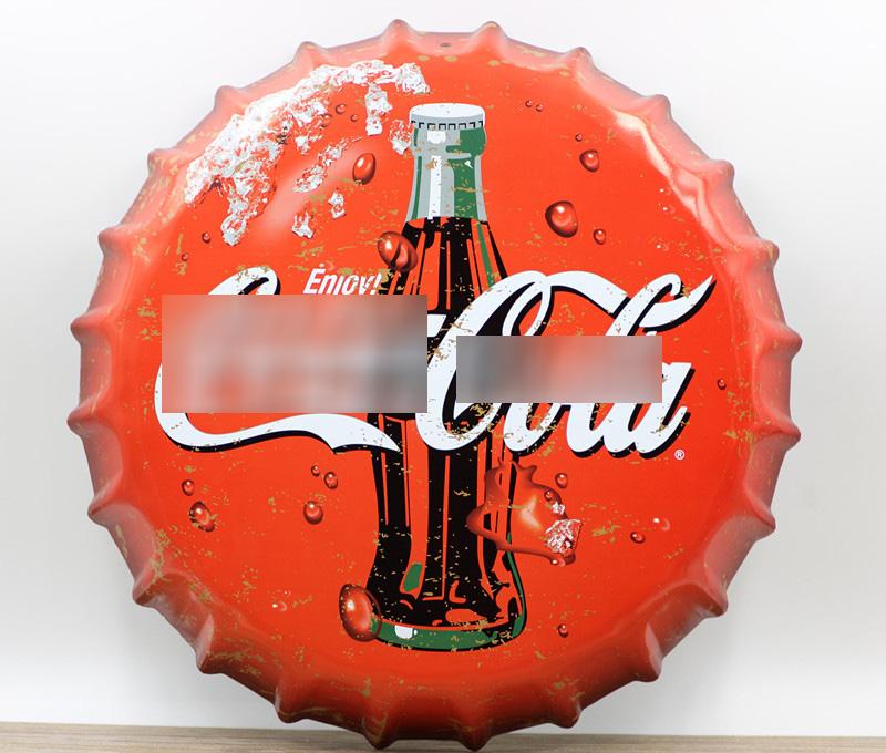 35cm Vintage Metal Iron Round coke for drinking beer bottle cap Vintage Tin Sign Bar pub home Wall Decor Retro Metal Art Poster