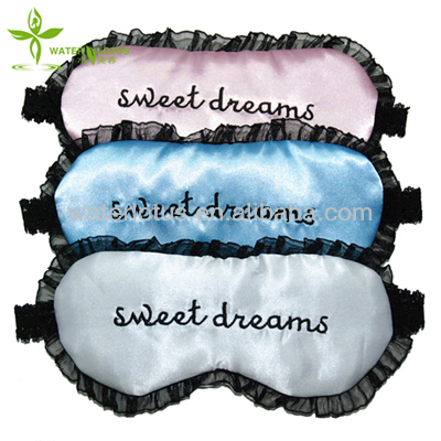 Custom eye masks satin embroidery sleeping eye mask for women with lace
