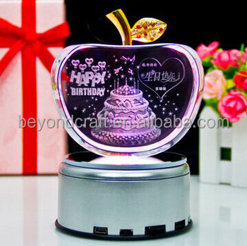 3d Crystal Appleengraving Cakecrystal Birthday Gifts For Friends