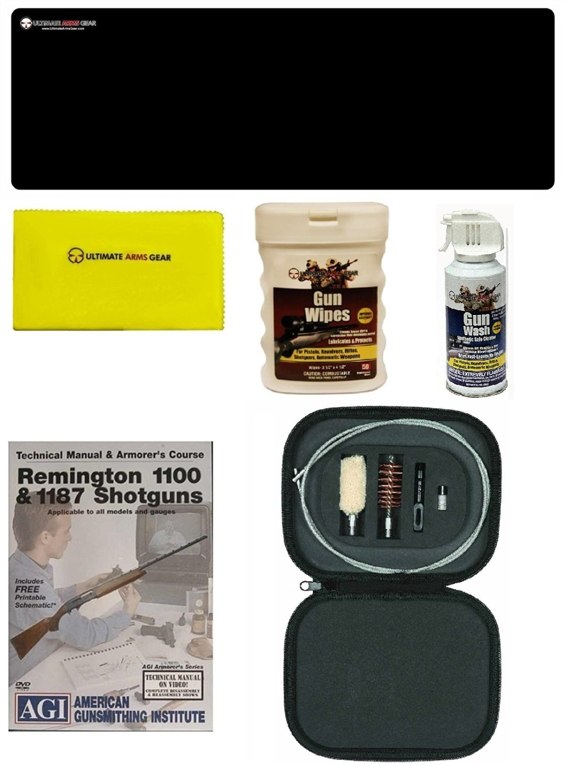 AGI DVD Manual & Armorer's Course Remington 1100/1187 + Ultimate Arms Gear Bench Gun Mat + Cleaning Tube Chamber 12 Gauge Rod, Brushes, Tips & Patches + Gun Wash + Silicone Cloth + Wipes