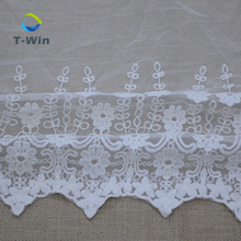 China Supplier Cotton Embroidery Lace Fabric Tulle Trimming Pillow Cover Embroidery Design