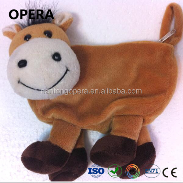 cheap wholesale soft plush animal cow pony toy bag