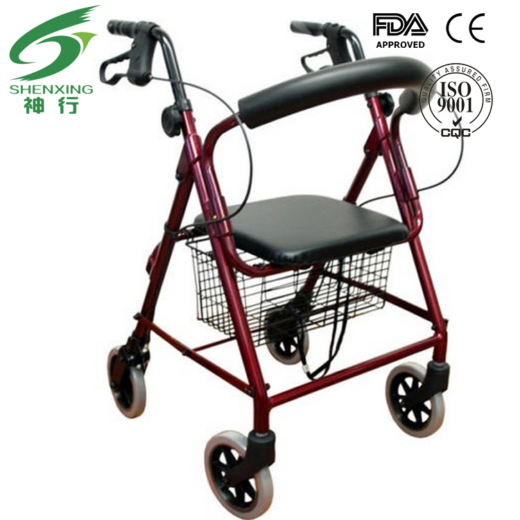Rollator Walker with Fold Up and Removable Back Support and Padded Seat