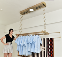 Smart laundry remote control automatic electric clothes airing drying hanger rack with LED lights