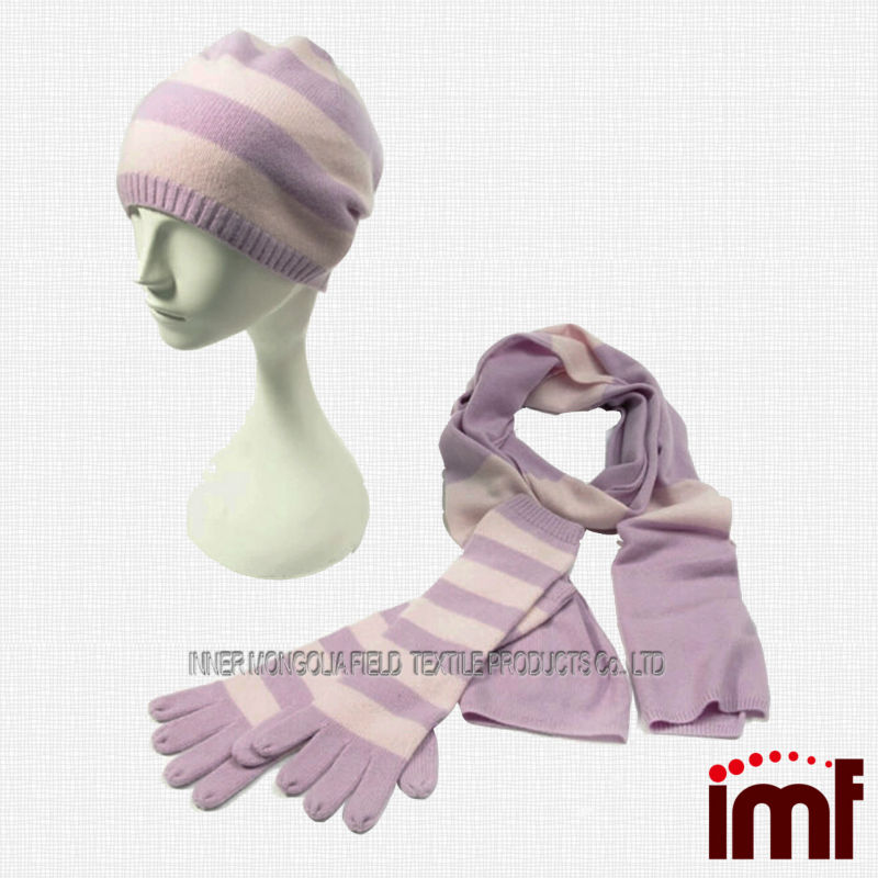 100%Cashmere,Scarf and Hat Golve Set/Winter Set/Fashion Accessory Set,Inner Mongolia China Supplier