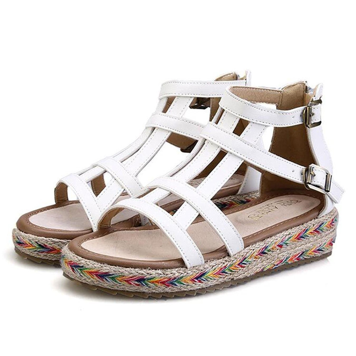 a677945bbf7f Get Quotations · Bandage Gladiator Sandals Summer Flat Sandals Boots  Fretwork Summer Women Causal Shoes Buckle Strap Rome Shoes