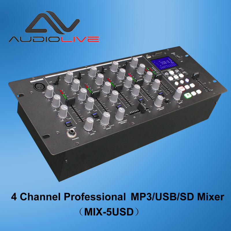 4 Channel Professional pioneer Digital Audio DJ Mixer player MIX-5USD