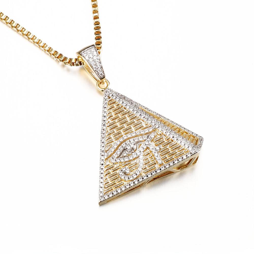 Hip Hop 18k Gold Jewelry Triangle Evil Eye Pendant Buy 18k Gold