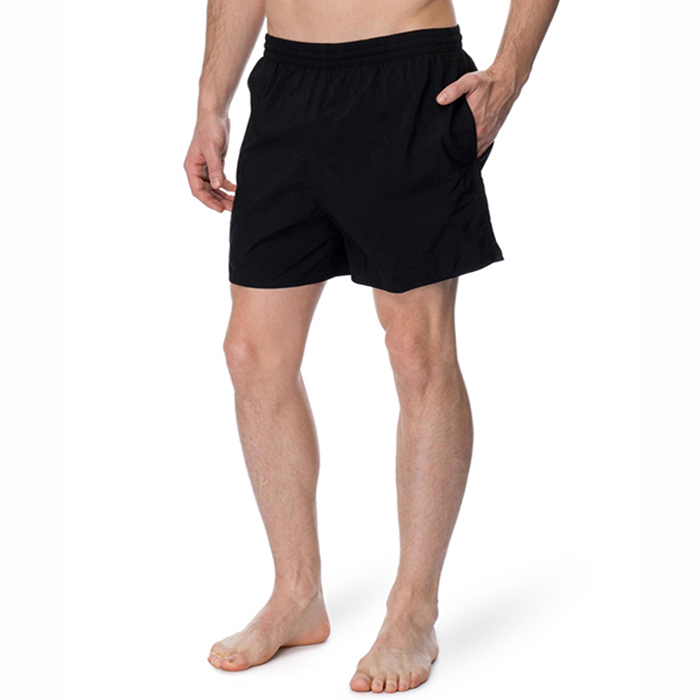 "Customize Solid black Pattern Swimwear 100% Polyester Swim Trunks 27"" Leg Opening Men's Sportswear Running Shorts"