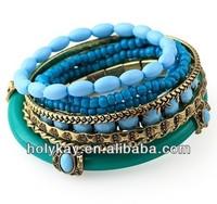 Acrylic bangle beaded bracelet jewelry,Indian style fashion wholesale initial bracelet