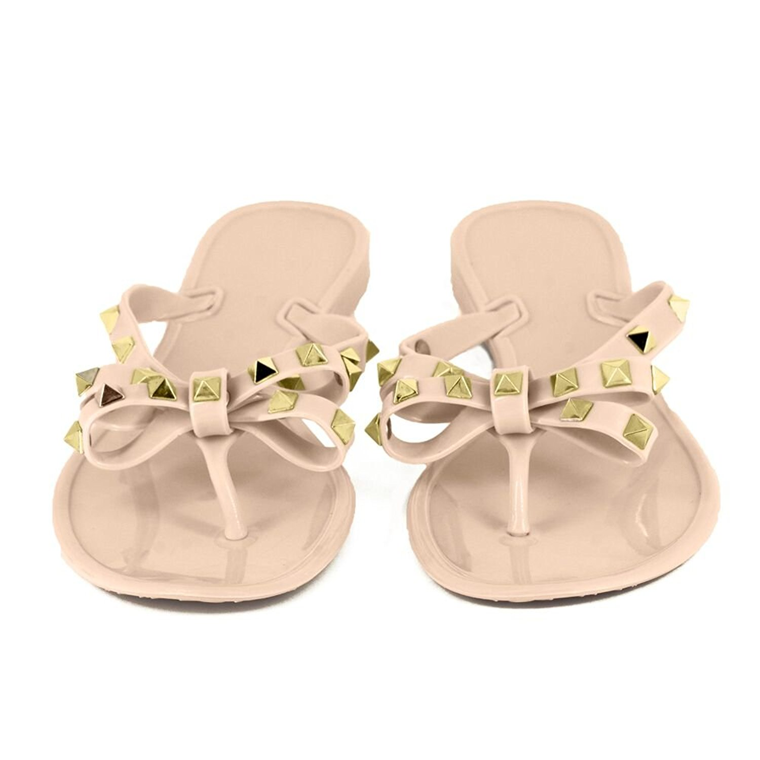 the best attitude c11ee 8bb78 Utop Women s Rivets Bowtie Flip Flops Jelly Thong Sandal Rubber Flat  Slipper Summer Beach Rain Shoes Womens Gold Rivet Studded Bow Jelly Thong  Flip Flop ...