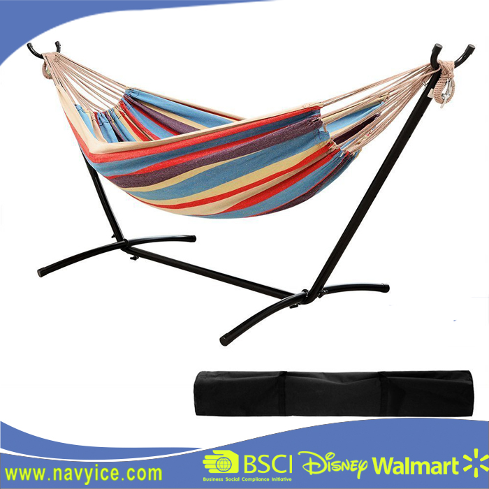 High Quality folding adjustable hammock stand Fashion Double Hammock With Space Saving Steel Stand