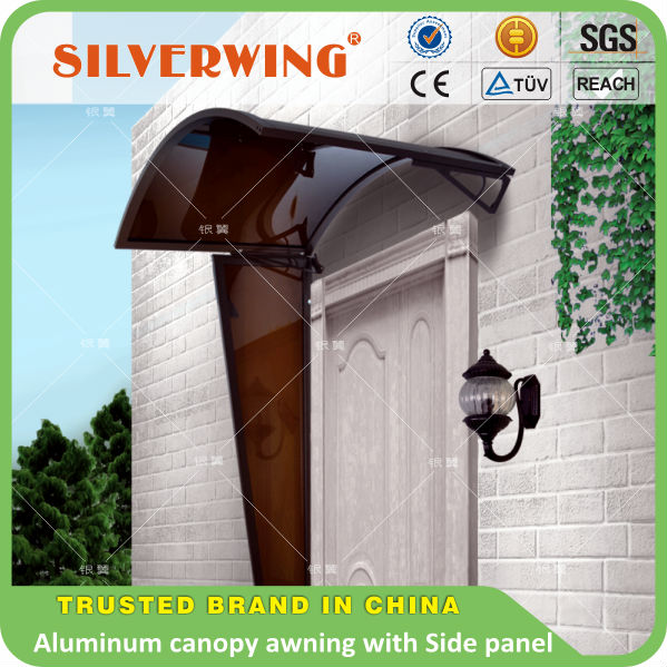 New design used door awnings Aluminum wind rain protection side door canopy awning with water drain gutter profiles for door